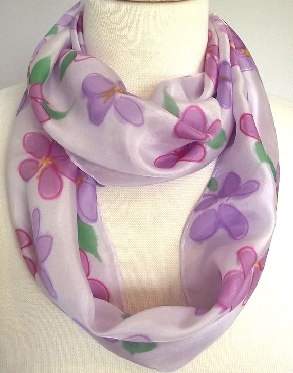 Hand Painted Silk Infinity Scarf, Pale Lilac with Cherry Blossoms in Pink and Mauve, Green Leaves, 9x60