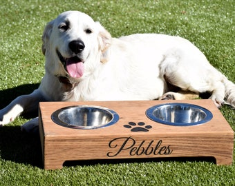 Elevated Dog Feeder and Storage Box - Elevated Dog Bowl - Rustic Dog Bowl Stand - Raised Dog Bowl - Raised Dog Feeder - Pet Bowl Stand