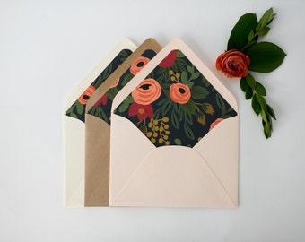 """rifle paper """"rosa"""" lined envelopes / navy floral envelope liner / envelopes for wedding invitations / wedding envelopes / envelope liner"""