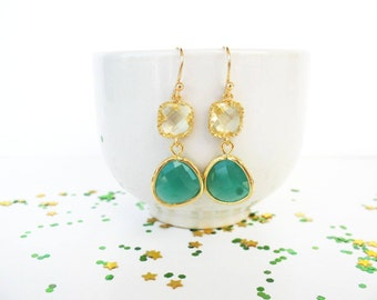Lemon and Emerald Earrings Gold Kelly Green Earrings Kelly Green Bridesmaids Yellow and Green Earrings Citrine and green earrings Lemon