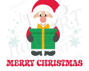 cartoon cute santa claus with gift and text