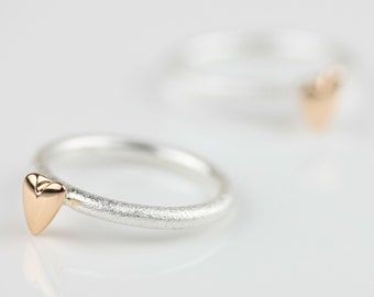 Devotion Brushed Silver Ring with Polished Rose Gold Heart