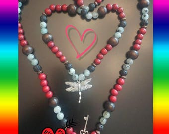 108 Bead Mala w/Dragon Fly  Pendant