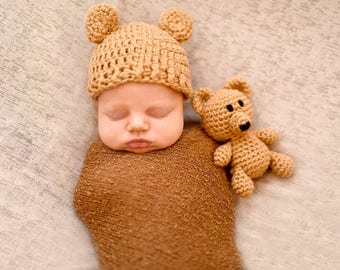 Teddy Bear Animal Infant Newborn Baby Outfit Beanie Hat Toy Amigurumi Crochet Photography Photo Prop