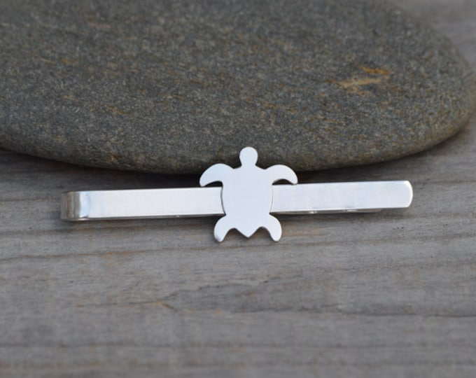 Sea Turtle Tie Clip In Solid Sterling Silver, Wedding Tie Clip, Personalized Tie Clip, Handmade Gift For Man