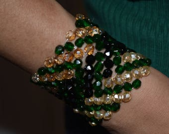 Beaded Bracelet.  Mix and Match. St. Patrick's Day Jewerly. Arm Candy. Green Bracelets. For Her. Under 50. Women Accessories. Czech Beads.