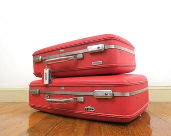 Pair of American Tourister Suitcases // Vintage Red Hard Shell Matching Luggage Set Mid Century Modern Storage Cases Bold Color Large