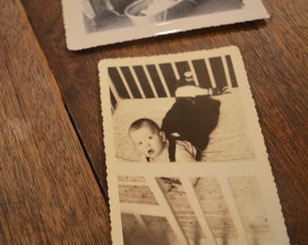 Lot of vintage black and white photographs photos pictures baby crib changing table