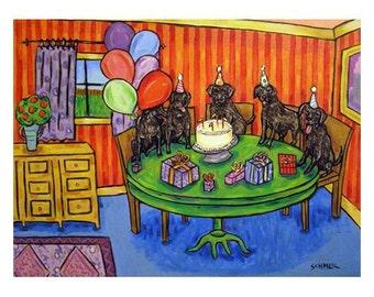 Black Labrador's Birthday Art Print   JSCHMETZ modern abstract folk pop art AMERICAN ART gift