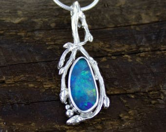 Blue Opal pendant, woodland drip pendant, boulder opal necklace, branch jewelry, organic necklace, inspired by nature, healing amulet,