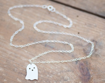 Sterling Silver Ghost Necklace - Hand Sawn - Halloween