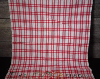 vintage tea towel embroidered red and white buffalo check SUNDAY dinner themed