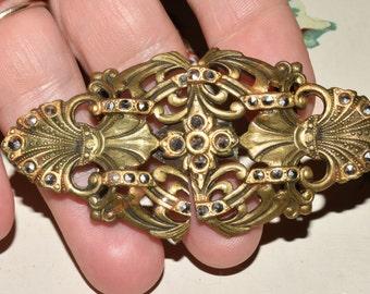 Vintage Marcasite Belt Buckle Ornate Antique Accessory