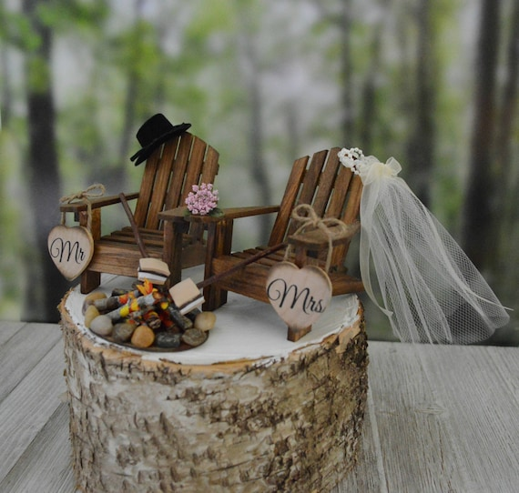 - S'mores Themed Camping Wedding Cake Topper Fire Pit Mr&Mrs