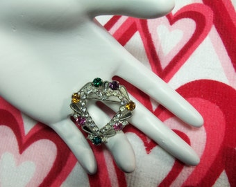 Vintage Silver Tone Filigree Multi Color and Clear Rhinestone Heart Figural Pin Brooch Mothers Valentine