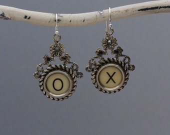 "Typewriter Key Jewelry-Typewriter Key Earrings - Vintage White Letters ""X O""-Typewriter Key Accessories-Dangle Typewriter Key Earrings"