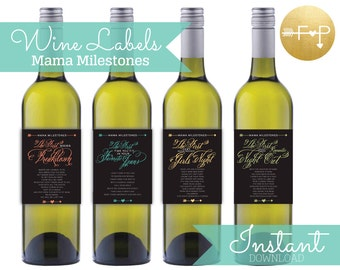 Instant Download DIGITAL File ONLY- Set of 4 Mama Milestones Wine Lable- New Mom Gift, New Mommy Wine Labels- Printable Instant Download