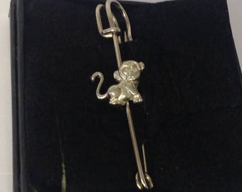 "Cute Monkey GT68 Scarf , Brooch and Kilt Pin Pewter 3"" 7.5 cm Made From English Modern Pewter"