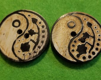 Two Faux Wood Buttons