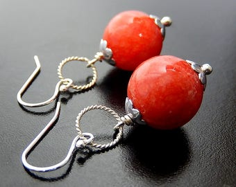 Red Earrings, Round Drop Dangles, Sterling Silver, Bright Red Quartzite