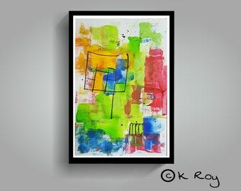 "Abstract landscape, Acrylic abstract, Original Art Acrylic, Abstract landscape original, 100% hand painted, 18""×12"", original abstract art"