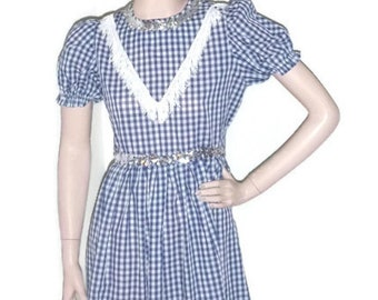 Vintage ROCKABILLY GINGHAM Dress Blue & White DOROTHY Costume Square Dancing Country Western Cowgirl Fringe Rodeo Swing Skater Prom 5 Small