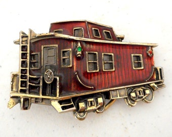 Train Caboose Belt Buckle Red Vintage 1979 Great American Buckle Co Railroad