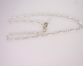 Sterling Silver Figaro Bracelet 9''