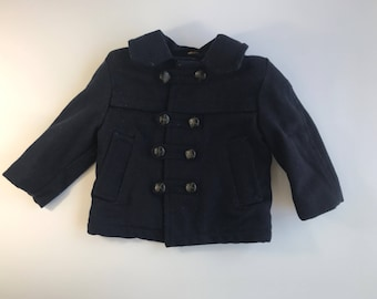 Vintage Baby Navy Wool Pea Coat Size 2T