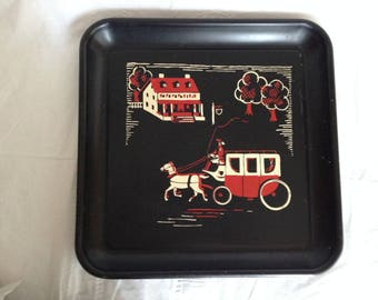 1950s Square Metal Serving Tray Colonial Scene Farmhouse Carriage Stencil Painted