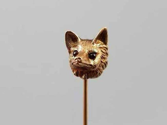 Antique Edwardian 10k gold fox head figural with garnet eyes Art Nouveau stick pin, stickpin, lapel pin, tie pin, tie tack, brooch