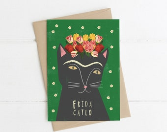 Frida Kahlo (Catlo) Artist Cat Card