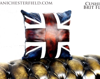 Leather Cushions UK Union Jack flag HandMade in Italy Patchwork Leathers Pillows