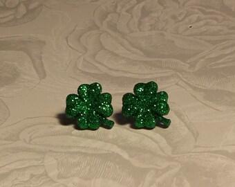 Glitter Shamrock Earrings