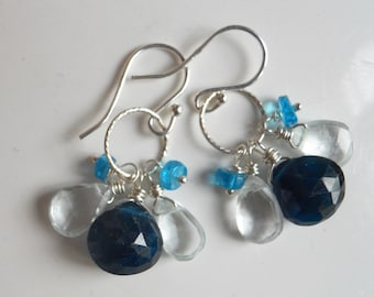 Blue Apatite and Aquamarine Loop Birthstone Earrings, Cluster Earrings, gemstone earrings