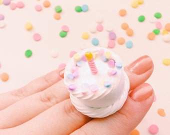 Birthday Cake Ring Miniature Food Jewelry Polymer Clay