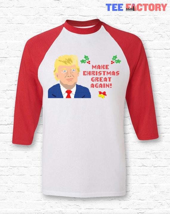 Make Christmas Great Again Funny Donald Trump Crewneck Sweater Sweatshirt Hoodie • Knit Ugly Christmas Sweater America • XMAS Gift • TF-54 gzpp5iV