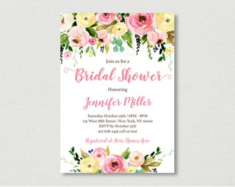 Pink & Yellow Floral Bridal Shower Invitation / Floral Bridal Shower Invite / PRINTABLE B124