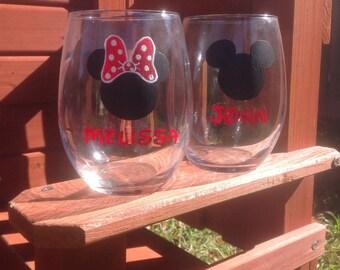 Disney Wine Glasses, Stemless Wine Glass, Hand Painted Wine Glass, His and Hers Wine Glass, Mickey Minnie Glasses