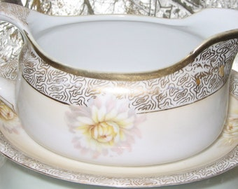 R S Germany Gravy Boat with Saucer in White Chrysanthemum Floral Motif with Gilt Work Antique