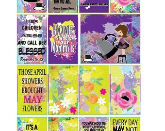 Classic May Mother's Day Full Box Printable Sticker Kit for Classic HP Layout (features Lighter Girls)