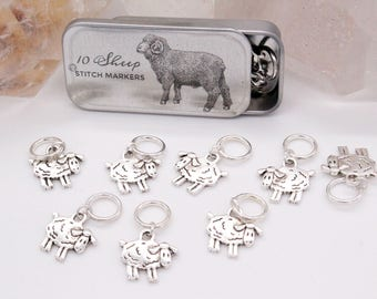Tin with 10 Snag Free Sheep Ring knitting Stitch Markers, Snagless Sheep Knitting Stitch Markers, Gift for Knitters, Knitting Notions