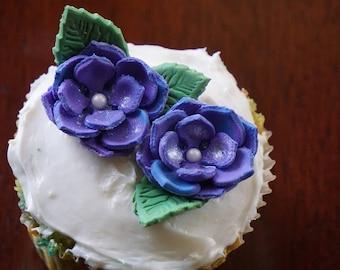Small Fondant Flowers (Set of 6), Fondant Flowers, Flower Cake Toppers