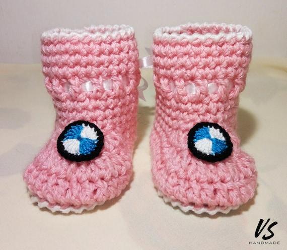 BMW BABYSCHUHE häkeln für Frühchen/Neugeborene Rosa Socken