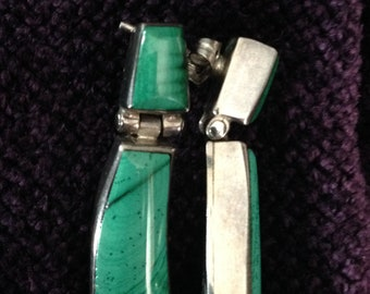 Beautiful Malachite and Sterling Silver Earrings