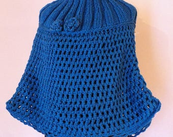 Teal Cape Coat; Wool Hood; Blue Cloak