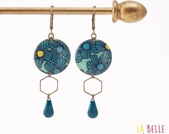 Resinees earrings round blue flower pattern Hexagon