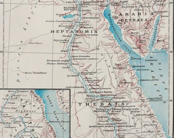 Old nile river map Etsy