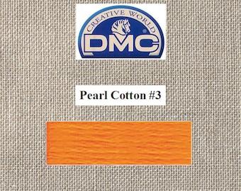 DMC Pearl 3 - Tangerine - Color 740 - 15 Meters - By the Skein