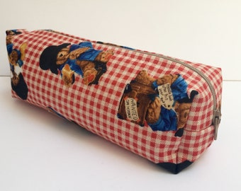 Small cotton zipper pouch, Pencil case/ makeup bag, fully lined with water proof fabric